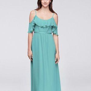 Cold Shoulder Crinkle Chiffon Bridesmaid Dress